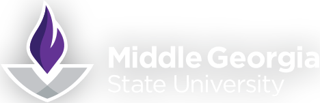 The logo of Middle Georgia State University with the flame to the left of the text.
